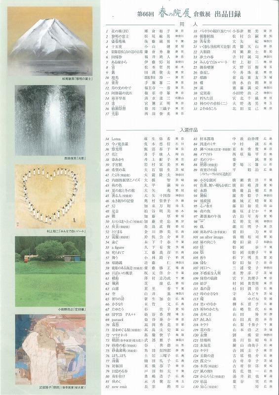 66回春の院展出品目録