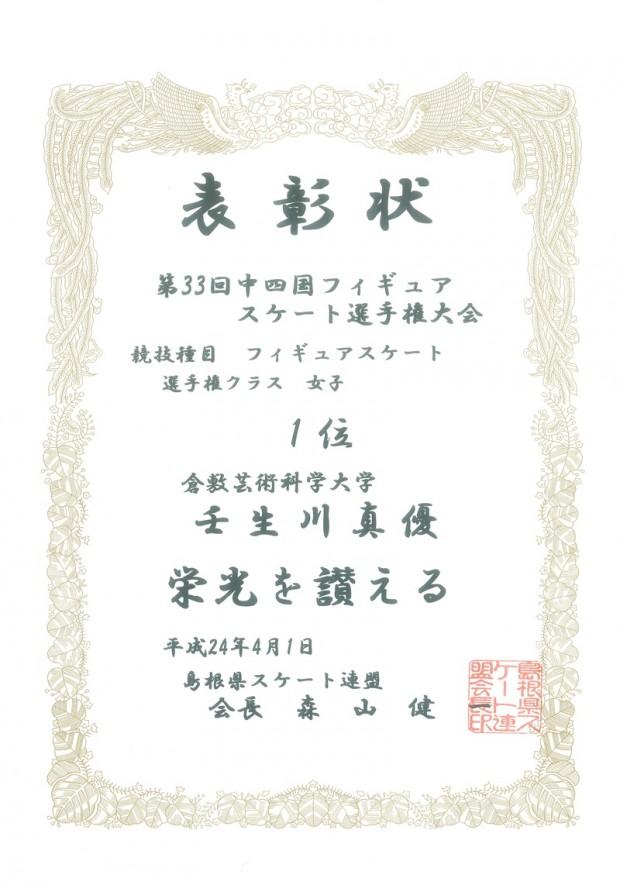 中四国フィギュアスケート選手権大会表彰状