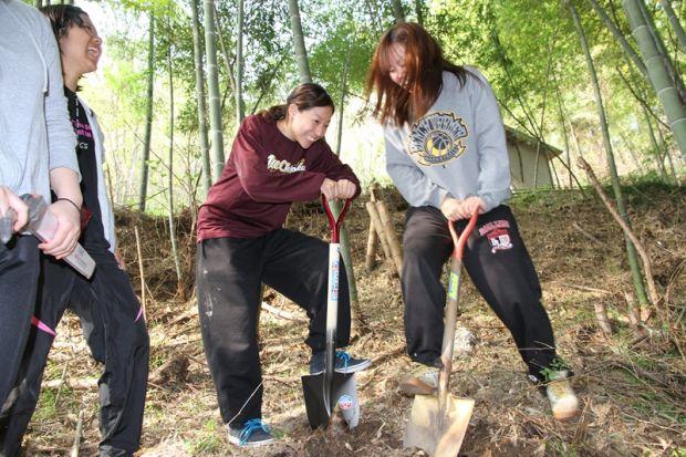 筍を掘る学生