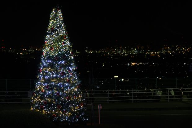 水島の夜景とクリスマスツリーイルミネーション