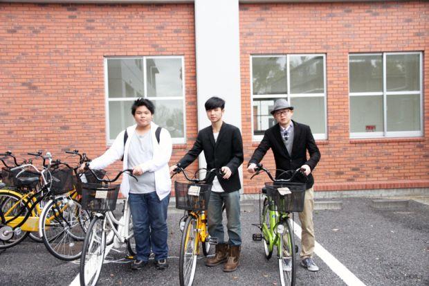留学生の方と自転車