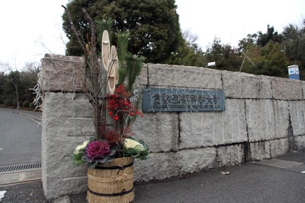 正門に飾られた門松