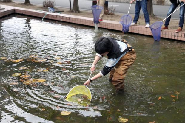 池の枯れ葉をとる生命科学科バイオコースの学生さん