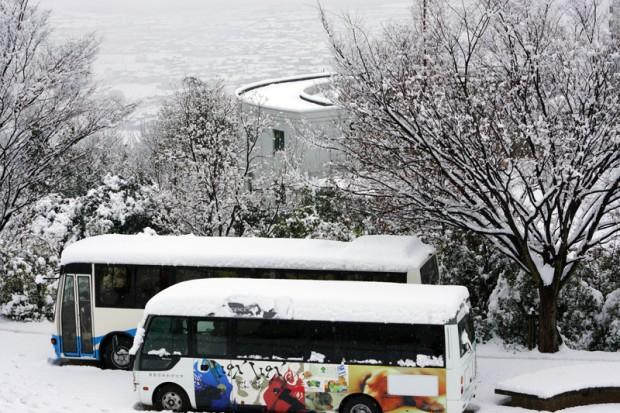 雪が積もったエントランス
