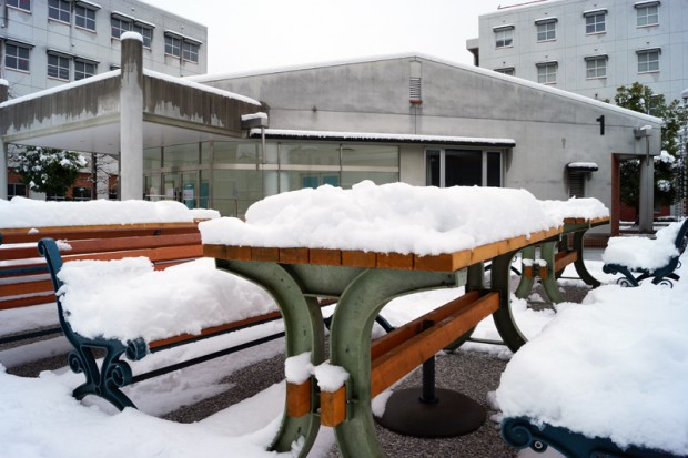 1号館前雪