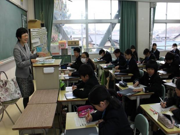 倉敷天城中学校での講演の様子