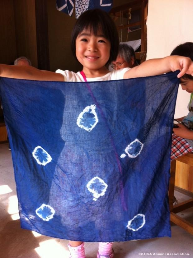 完成した木綿ハンカチ藍染
