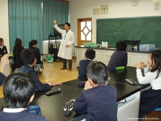 生命科学科仲教授による出張実験授業