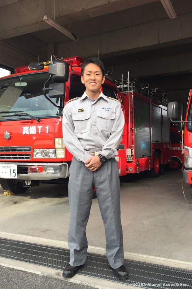 小林祥太朗さんと消防車