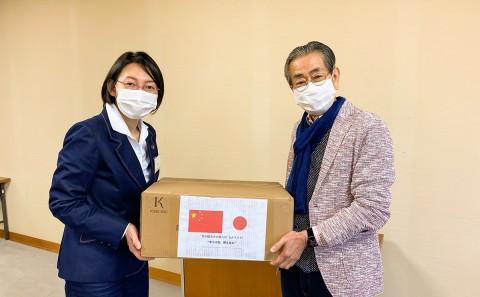 倉敷市へマスクを贈与しました。